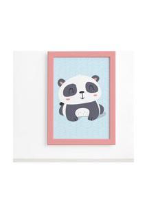 Quadro Animais Panda Deitado Moldura Rosa 22X32Cm