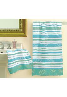Jogo De Banho 2 Peças Estampado Riviera 1 Banho 1 Rosto Lepper Azul-Claro