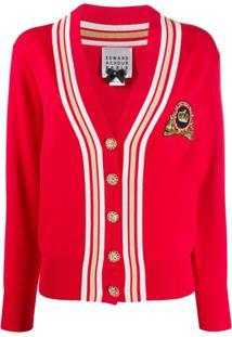 Edward Achour Paris Cardigan De Tricô Com Aplicação De Paetês - Vermelho