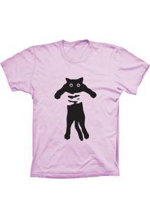 Camiseta Baby Look Lu Geek Gato Abraçado Rosa