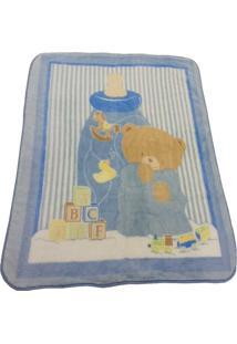 Cobertor Camesa Bebê Raschel Azul