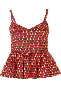 La Doublej Blusa Estampada Com Peplum - Vermelho