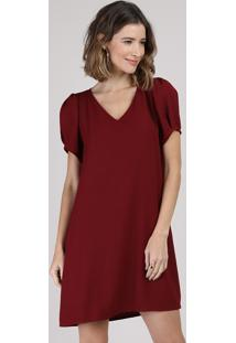 Vestido Feminino Curto Manga Bufante Vinho