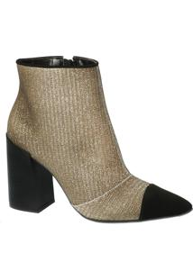 Ankle Boot Malha Dourada Bico Fino