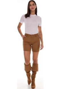 Bermuda Jeans Express Meia Coxa Color Lisa Mostarda - Feminino-Marrom