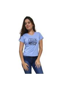 Camiseta Feminina Gola V Cellos Dress Up Premium Azul Claro