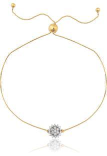 Pulseira De Ouro 18K De Flor Com Diamantes