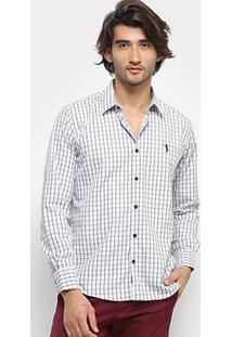 Camisa Xadrez Manga Longa Aleatory Slim Fit Masculina - Masculino-Branco+Cinza
