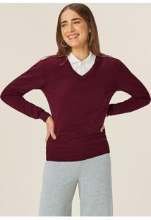 Blusão Bordô Feminino Em Tricô