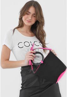 Bolsa Colcci Color Block Preto/Rosa