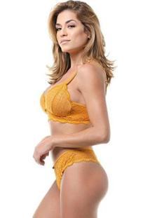 Conjunto Lingerie Renda Borboleta Conforto Casual Dia A Dia - Feminino-Amarelo
