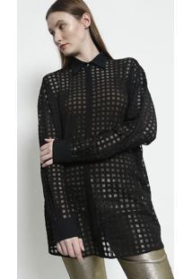 f7fe04a54 -77% Camisa Quadriculada Em Tule - Pretaversace Collection