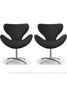 Kit De 02 Cadeiras Decorativas Poltronas Egg Cinza Com Base Giratória