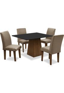Conjunto De Mesa Para Sala De Jantar Com 4 Cadeiras Florença Fit-Dobue - Castanho / Preto / Mascavo