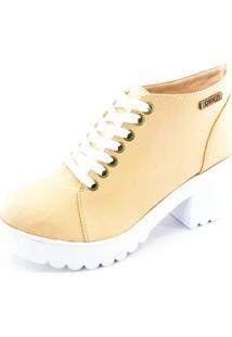 Bota Quality Shoes Tratorada Feminina - Feminino-Bege