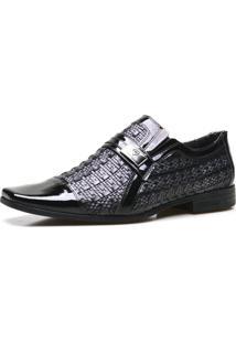 Sapato Social Calvest Em Couro Verniz E Tressê Preto