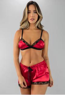Baby Doll Cetim Rb Moda Pijama Vermelho - Tricae