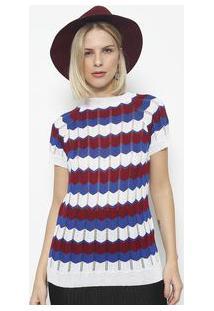 Ponto Aguiar Blusa Em Tricot Vazado Listrada Branca & Azul