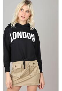 """Blusão Feminino Cropped """"London'' Com Capuz Em Moletom Preto"""