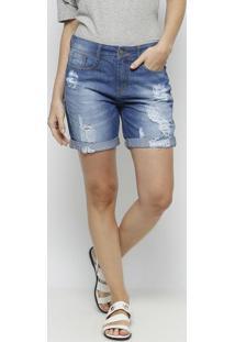Bermuda Jeans Com Destroyed- Azul Clarodzarm