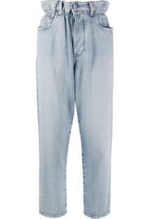 Miu Miu Calça Jeans Reta Clochard - Azul