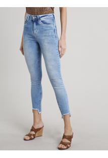 Calça Jeans Feminina Cigarrete Com Rasgos Azul Claro