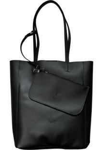Bolsa Line Store Sacola Shopper N1 Couro Preto Premium.