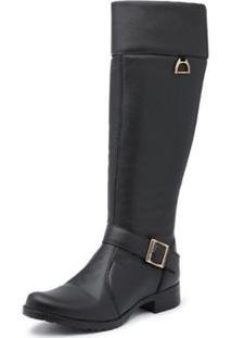 Bota Kilser Shoes Montaria Cano Longo Fivela Com Zíper Moderna Feminina - Feminino-Preto