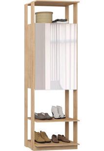 Guarda-Roupa Closet 2 Portas Com Espelho 70 Cm Carvalho Mel - Bentec