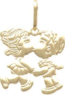 Pingente Prata Mil Casal Beijando Ouro