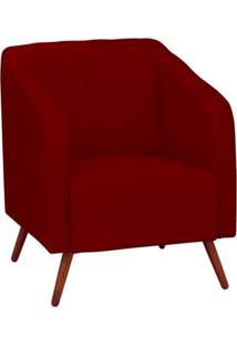Poltrona Decorativa Silmara Pés Palito Vermelha Condor Decor