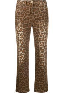 Pinko Calça Jeans Com Estampa Leopardo Marrom