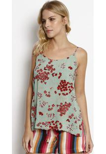 Blusa Com Fendas - Verde & Vermelha - Linho Finolinho Fino