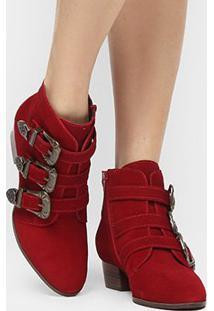 Bota Couro Shoestock Cano Curto 3 Fivelas Feminina - Feminino-Vermelho