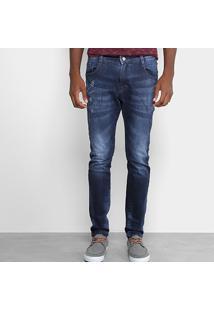 Calça Jeans Slim Gangster Estonada Masculina - Masculino-Azul