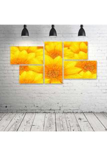 Quadro Decorativo - Yellow-Flowers - Composto De 5 Quadros