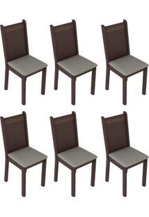 Kit 6 Cadeiras Tabaco Pérola Madesa4290