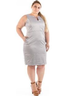 Vestido Confidencial Extra Plus Size Urban Satin Cetim - Feminino-Cinza
