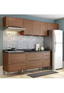 Cozinha Compacta 8 Portas Com Tampo E Pés 5456 Nogueira/Malt - Multimóveis