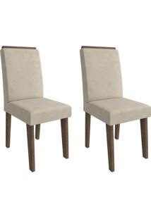 Conjunto Com 2 Cadeiras De Jantar Milena Suede Marrocos E Bege