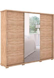 Guarda Roupa Casal 3 Portas Com Espelho New Fortuno - Robel - Cedro / Madeirado