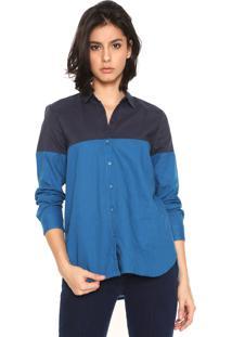 Camisa Linho Cantão Color Blocking Azul