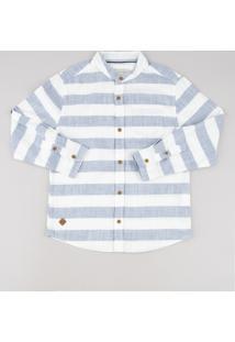 Camisa Infantil Listrada Manga Longa Gola Padre Off White