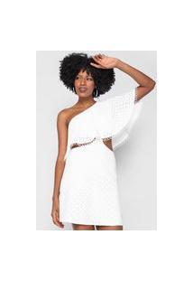 Vestido Lança Perfume Curto Ombro Único Laise Branco