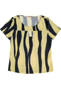 Blusa Estampada Com Abertura No Decote Amarelo