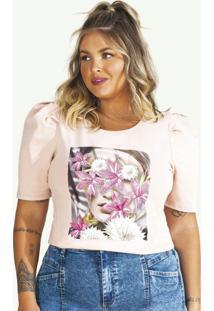 T-Shirt Em Malha Com Elastano Blush