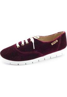 Oxford Tratorado Quality Shoes Veludo Feminino - Feminino-Bordô