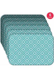 Jogo Americano Love Decor Wevans Blue Geometric Kit Com 6 Pçs