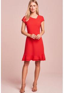 Vestido Decote Assimétrico Vermelho-36