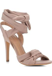 Sandália Shoestock Salto Fino Lace Up Feminina - Feminino-Bege